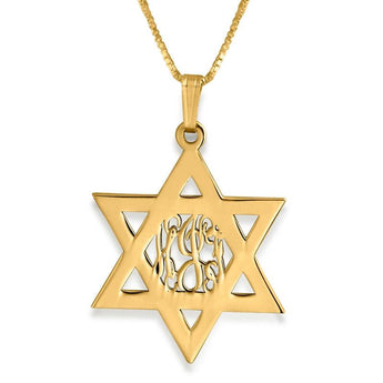 Gold Plated Star of David Mon0gram Necklace - My Boho Jewelry
