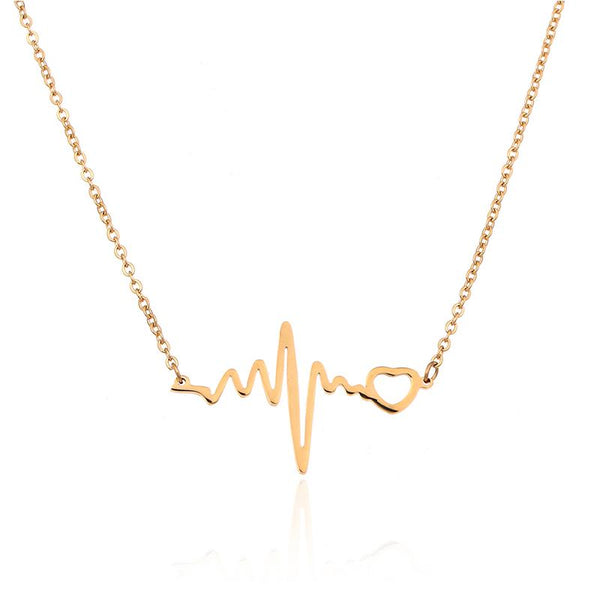 Gold Plated Heartbeat Necklace - My Boho Jewelry