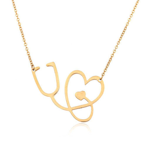 14k Gold Stethoscope Necklace - My Boho Jewelry