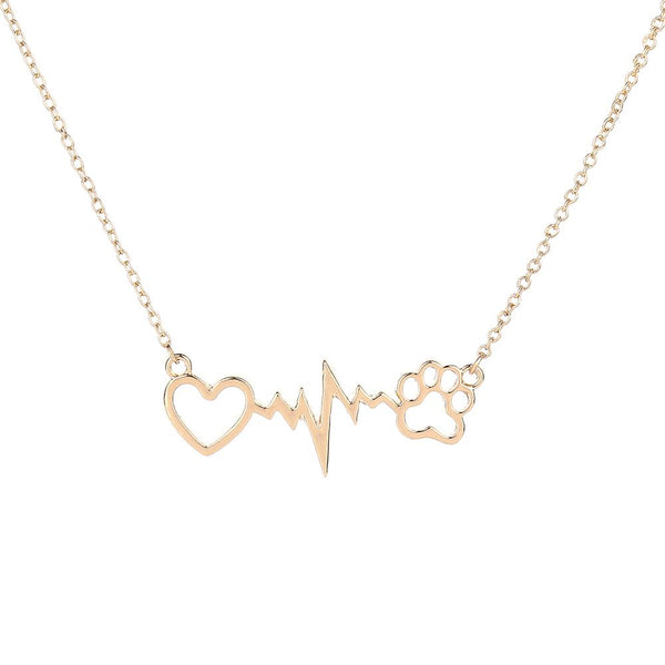 Dog Heartbeat Necklace With Paw - My Boho Jewelry
