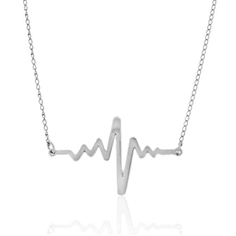Sterling Silver Heartbeat Necklace - My Boho Jewelry