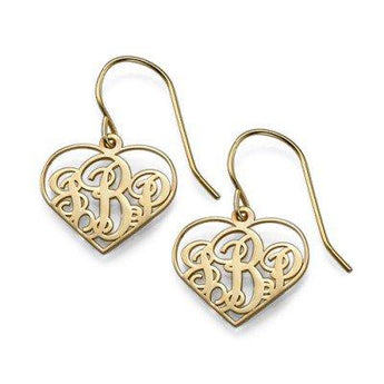 18k Gold Plated Heart Frame Monogram Earrings - My Boho Jewelry