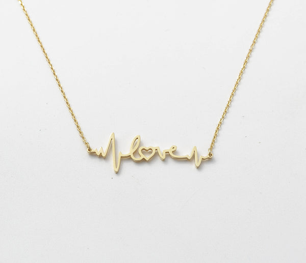 Gold Plated Heartbeat Name Necklace - My Boho Jewelry