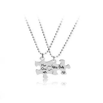 Sterling Silver His and Hers Puzzle Necklace - My Boho Jewelry