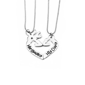 Sterling Silver His and Hers Buck and Doe Necklace - My Boho Jewelry