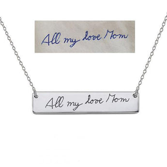Bar Necklace 1 inch Choose any Font or Hand Written Engraving made with 925 Sterling Silver - My Boho Jewelry