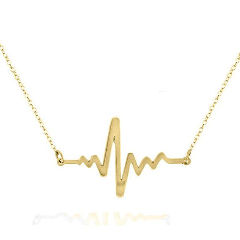 14k Solid Gold Heartbeat  necklace - My Boho Jewelry