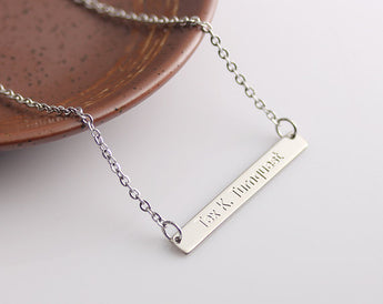 Dainty Bar Necklace, Dainty Personalized Gold Bar Silver Bar Necklace, Engraved Long Charm, Bridesmaid Gift - My Boho Jewelry