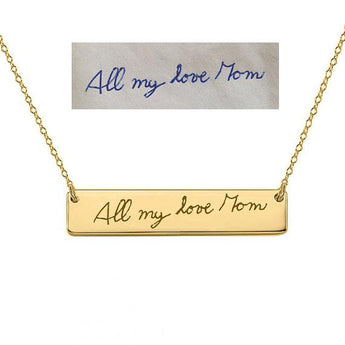 14k Solid Gold Bar Necklace 1 inch Choose any Font or Hand Written Engraving made with 14k solid gold - My Boho Jewelry