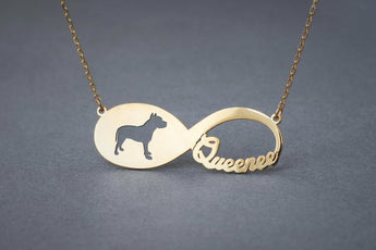 14k Solid Gold Personalised INFINITY PITBULL Necklace - 14k Gold Pitbull Terrier Necklace - Name Necklace - My Boho Jewelry