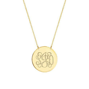 14k Solid Gold monogram Disc necklace - My Boho Jewelry