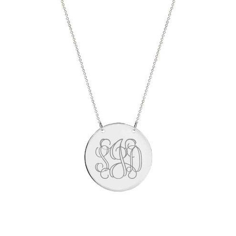 925 sterling silver monogram Disc necklace  Personalized  any engraving choose - My Boho Jewelry