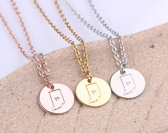 Indiana Necklace, Indiana State Necklace, Silver State Disc Necklace, Gold Indiana Necklace, Best Friends Gift, Far Away Friends - My Boho Jewelry
