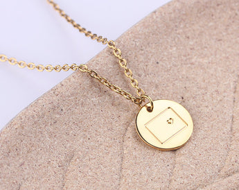 State Gift Necklace Small Colorado Necklace, Disc State Necklace, Gold Colorado with Heart, Rose Gold Disc Necklace, Gift for Her - My Boho Jewelry