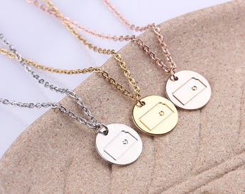 Kansas Necklace - Custom State Love Kansas Necklace - Kansas State Pendant - Personalized Disc Necklace - Silver ,Gold or Rose Gold