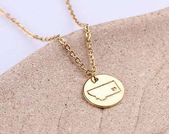 Personalized necklace, Initial disc necklace, Circle Montana Necklace, State Charm Necklace, Rose Gold Montana State Jewelry, Gift for Her - My Boho Jewelry