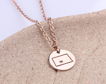 Personalized necklace, Initial disc necklace, North Dakota State Necklace Rose Gold,ND State Necklace, North Dakota State Love Charm - My Boho Jewelry