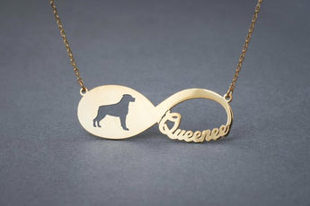 14k Solid Gold Personalised INFINITY ROTTWEILER Necklace - 14k Gold Rottweiler Necklace - Name Necklace - My Boho Jewelry