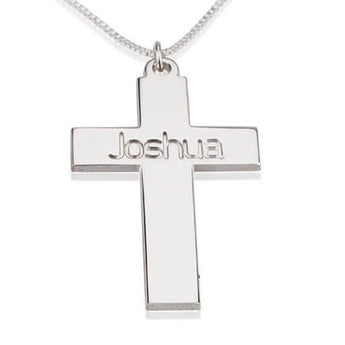 Personalized Cross Necklace, Sterling Silver  Cross Necklace - My Boho Jewelry