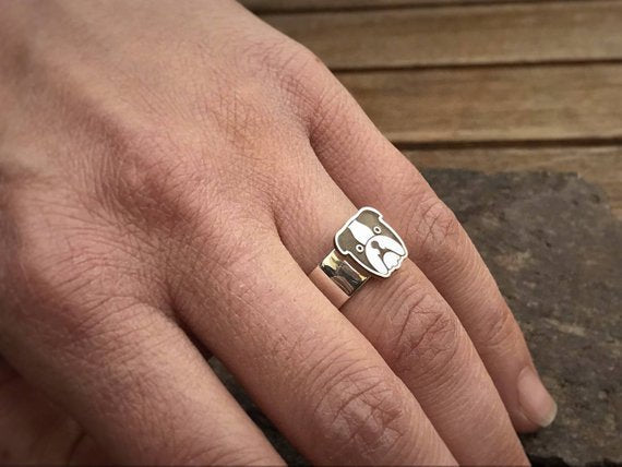 ENGLISH BULLDOG Ring  Bulldog Jewelry  Dog Paw Ring  Paw Print Ring  Dog Ring  Silver Ring  Bulldog Jewelry - My Boho Jewelry