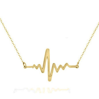 ANNIVERSARY GIFT-  Heartbeat  necklace made with 14k solid gold Personalized  choose