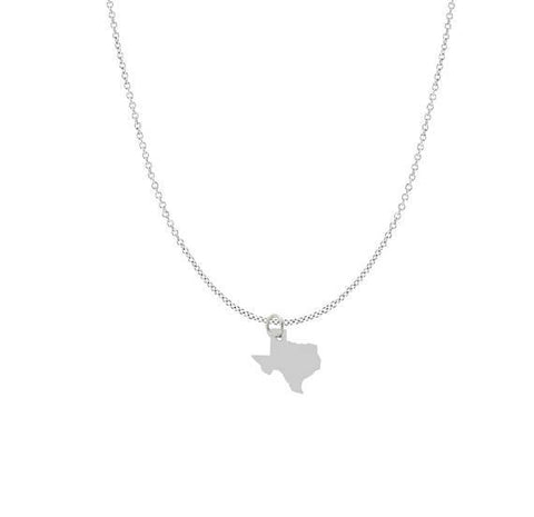 Texas Pendant Necklace Sterling Silver Chain - All States Available - My Boho Jewelry