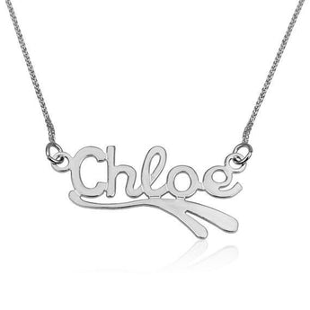 Custom Name Necklace,  925 Sterling Silver Name Pendants, English Wave1 Style, , Personalize Jewelry Gift