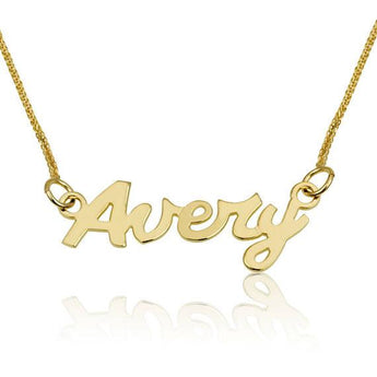Gold Name Necklace, Personalized Jewelry, Custom Gold Chain, Yellow Gold 14K Necklace, Bridesmaid Jewelry English Ink Style, Gift for her - My Boho Jewelry