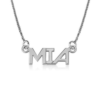 Custom Pendant, , 925 Sterling Silver Name Necklace, English Capital V Style, Personalized Jewelry - My Boho Jewelry