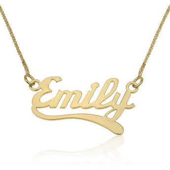 Custom Name Necklaces Solid Gold, 14K Gold Pendant, English Wave2 Style Name Pendant Charm Necklace,  Personalized Jewelry - My Boho Jewelry