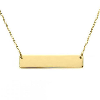 14k Solid Gold Bar Necklace 1.25 inch Choose any Font or Hand Written Engraving - My Boho Jewelry