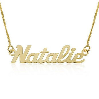 Custom Name Necklace, 14K Yellow Solid Gold Necklace, English Bright day Style Name Pendant Charm Necklace, Personalized Jewelry Gift - My Boho Jewelry