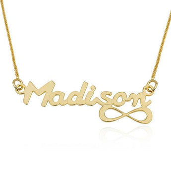 Custom Name Necklace, Yellow 14K Gold Pendants, English Infinity Style Name Pendant Charm Necklace, Personalized Jewelry - My Boho Jewelry
