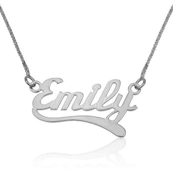 Name Necklace, Custom Name Pendant Silver, 925 Sterling Silver Necklace , English Wave2 Style, Kids Name Chain, Personalize Jewelry Gift - My Boho Jewelry
