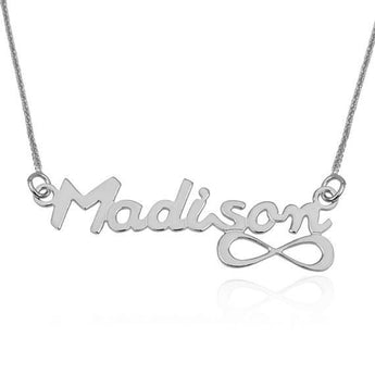 Custom Chains, Name Necklace, 925 sterling silver Chain, English Infinity Style Name Pendant Charm Necklace, Personalized Jewelry Gift - My Boho Jewelry