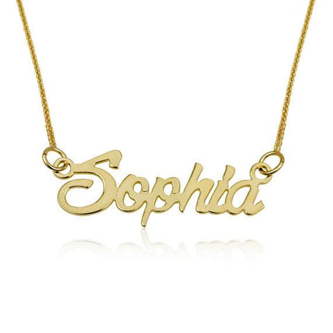 cf49e618208132 Personalized Necklace, Solid Gold Name Necklace, SOLID 14K YELLOW GOLD  Necklace, Customized Pendant
