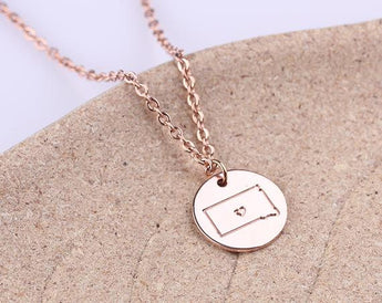 Personalized necklace, Initial disc necklace, Rose Gold Disc Charm, South Dakota State Charm Personalized Necklace - My Boho Jewelry