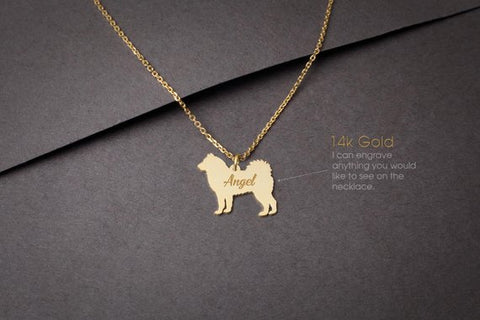 14K Solid GOLD Tiny SIBERIAN HUSKY Name Necklace - Siberian Husky Necklace - Gold Dog - 14K Gold or Rose Plated on 14k Gold Necklace - My Boho Jewelry