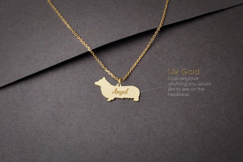 14K Solid GOLD Tiny PEMBROKE Welsh CORGI Name Necklace - Corgi Necklace -Gold Dog Necklace - 14K Gold or Rose Plated on 14k Gold Necklace - My Boho Jewelry