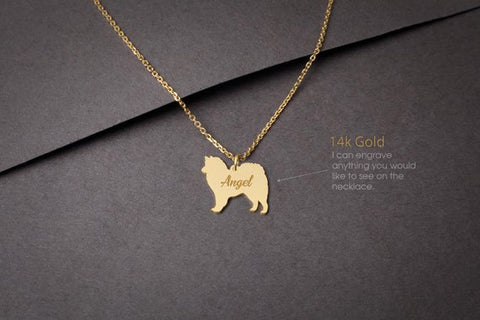 14K Solid GOLD Tiny AMERICAN ESKIMO Name Necklace - American Eskimo Necklace - Gold Dog - 14K Gold or Rose Plated on 14k Gold Necklace - My Boho Jewelry