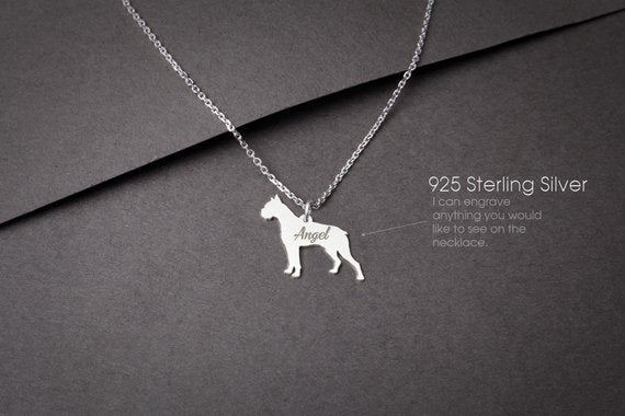 BOXER Personalised Tiny Silver Necklace - Boxer Dog Necklace - 925 Sterling Silver, Gold Plated or Rose Plated - My Boho Jewelry