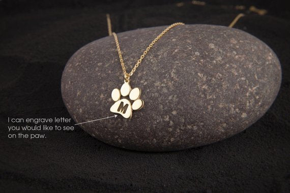 Medium Paw Print Necklace  Paw Necklace  Dog Paw  Cat Paw  Paw Print Necklace  Paw Jewelry  Paw Print  Silver Necklace  Jewelry - My Boho Jewelry