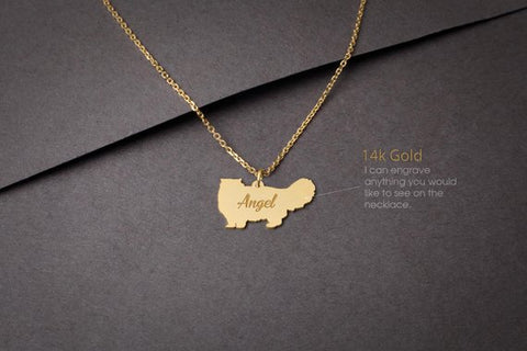 14K Solid GOLD Tiny PERSIAN CAT Name Necklace - Persian Cat Necklace - Gold Dog Necklace - 14K Gold or Rose Plated on 14k Gold Necklace - My Boho Jewelry