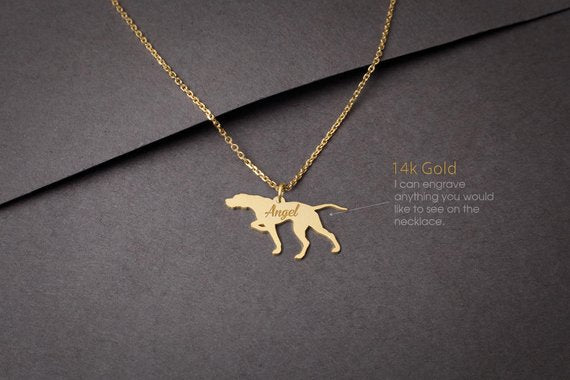14K Solid GOLD Tiny ENGLISH POINTER Name Necklace - Pointer Necklace -Gold Dog Necklace - 14K Gold or Rose Plated on 14k Gold Necklace
