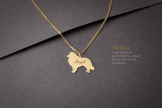 14K Solid GOLD Tiny SHETLAND SHEEPDOG Name Necklace - Collie Necklace - Gold Sheltie Necklace - 14K Gold or Rose Plated on 14k Gold Necklace