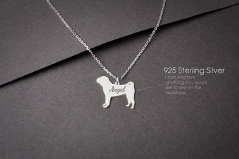 SHAR-PEI Personalised Tiny Silver Necklace - Shar-Pei Necklace - Gold Dog - 925 Sterling Silver, Gold Plated or Rose Plated - My Boho Jewelry