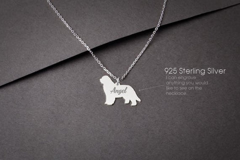 NEWFOUNDLAND DOG Personalised Tiny Silver Necklace - Newfoundland Dog Necklace - 925 Sterling Silver, Gold Plated or Rose Plated - My Boho Jewelry