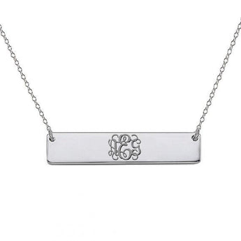 925 sterling silver monogram bar necklace  select any initial made - My Boho Jewelry