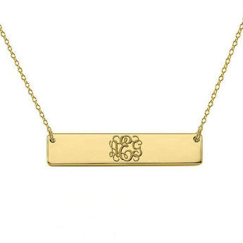Gold monogram bar necklace 18k gold plated pendant select any initial made with 925 silver 1 Inch - My Boho Jewelry