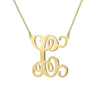 Monogram Necklace 18k gold plated 1 inch pendant single initial made with 925 silver - My Boho Jewelry